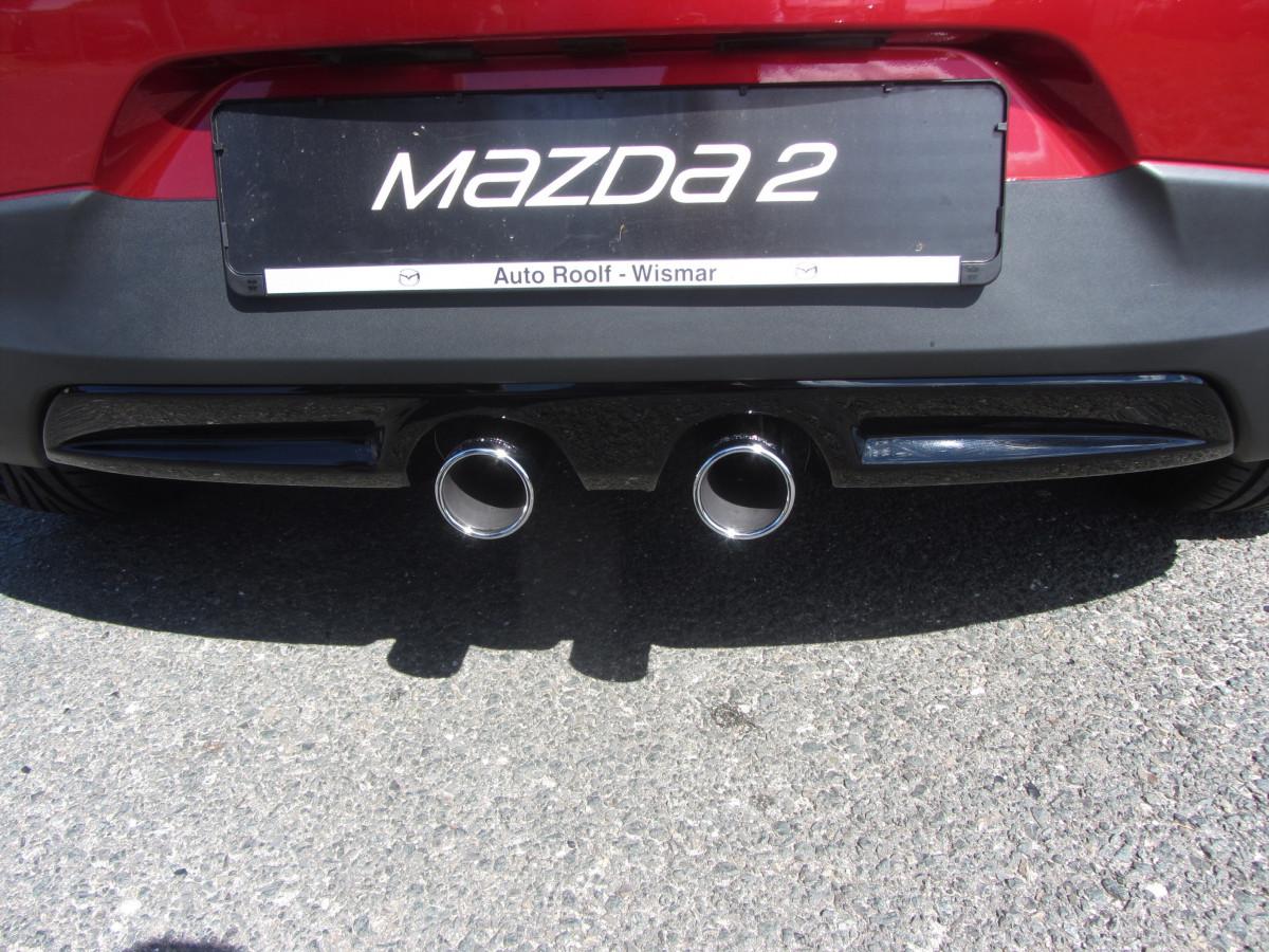 Mazda 2 Sondermodell Senshi Mazda Doppelauspuff frontale Ansicht